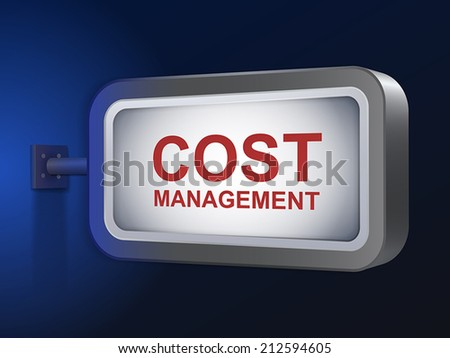 cost management words on billboard over blue background