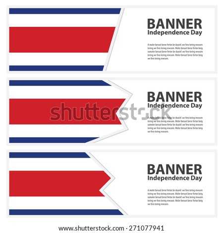 costa rica Flag banners collection independence day - stock vector