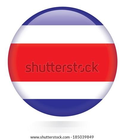 Costa Rica flag button - stock vector