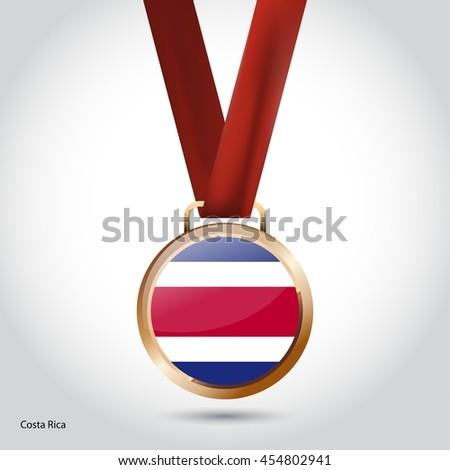 Costa Rica Flag in Bronze Medal. Olympic Game Bronze Medal. Vector Illustration - stock vector