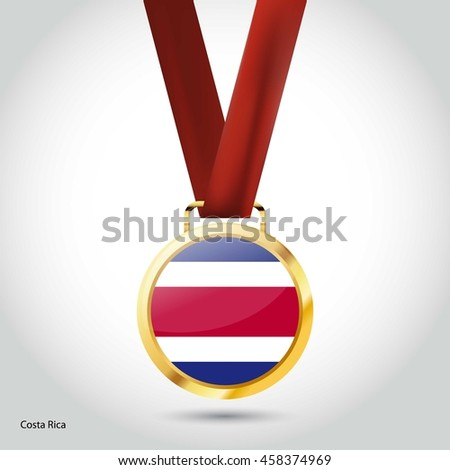 Costa Rica Flag in gold Medal. Vector Illustration. RIO Olympic Game Bronze Medal. Vector Illustration