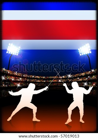 Costa Rica Flag with Fencing on Stadium Background Original Illustration