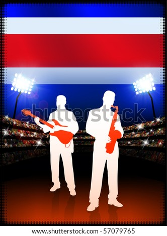 Costa Rica Flag with Live Music Band on Stadium Background Original Illustration - stock vector