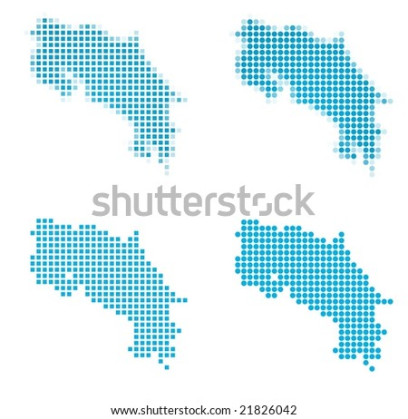 Costa Rica map mosaic set. Isolated on white background. - stock vector