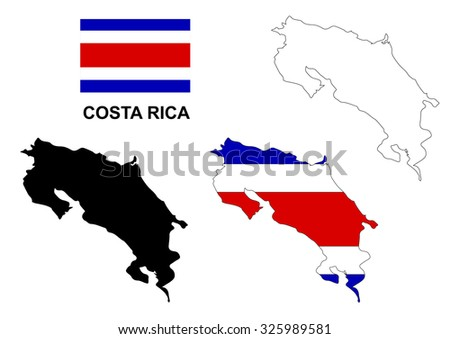 Costa Rica Map Flag Stock Vector Shutterstock - County map of costa rica