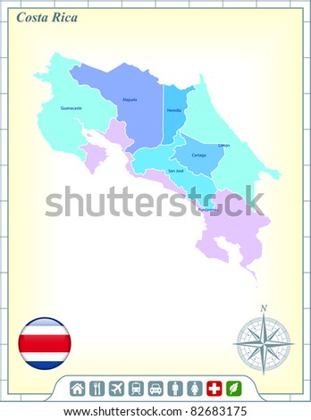 Costa Rica Map with Flag Buttons and Assistance & Activates Icons Original Illustration - stock vector