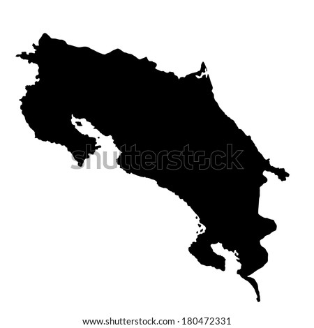 Costa Rica Vector Map Silhouette Isolated Stock Vector 180472331