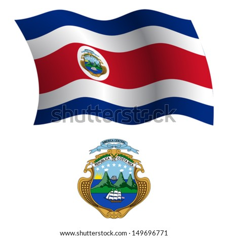 costa rica wavy flag and coat of arms against white background, vector art illustration, image contains transparency - stock vector