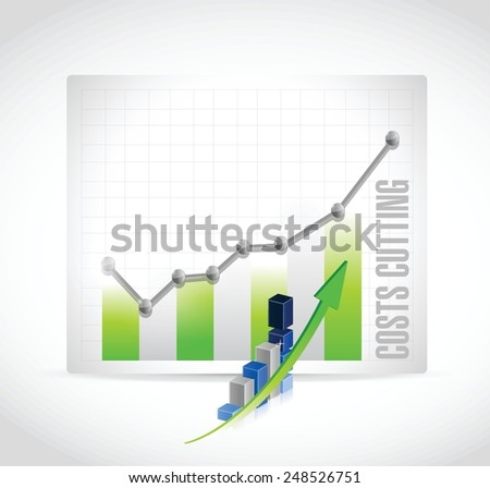 costs cutting business graph illustration design over a white background - stock vector