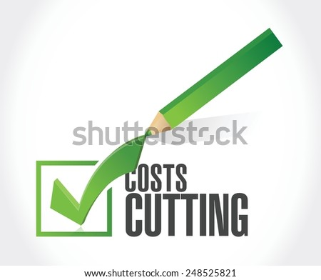 costs cutting check mark illustration design over a white background - stock vector