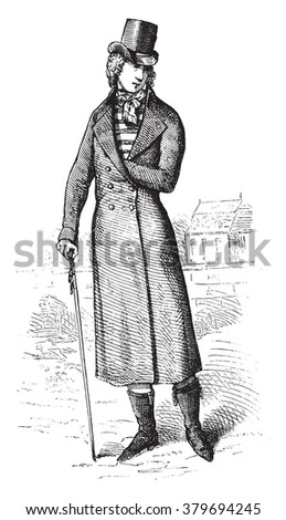 Costume after 1793. On a stamp of time, vintage engraved illustration. Magasin Pittoresque 1880. - stock vector