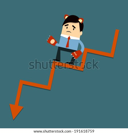 Costume Bear and down graph - stock vector