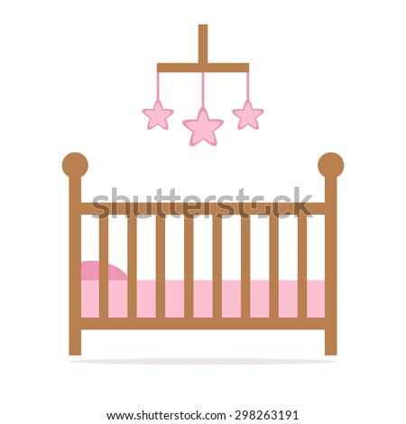 Cot. Cot icon. Little baby crib. Pink crib details. Cot isolated icon. Wooden crib on white background. Flat style vector illustration.  - stock vector