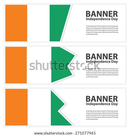 cote d'ivoire Flag banners collection independence day - stock vector
