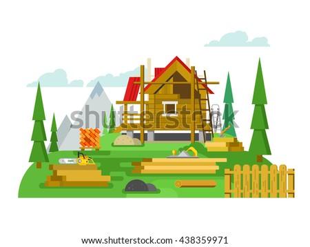 Cottage construction flat design - stock vector
