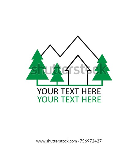 Cottage In Mountains And Forest Logo With Writing Black Green Outline Graphic Vector