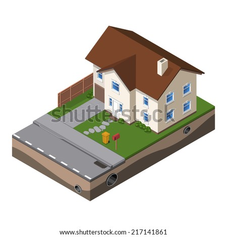 Cottage, Small Wooden House For Real Estate Brochures Or Web Icon. With Yard, Green Grass, Road, Mailbox, Fence, Ground. Isometric Vector EPS10 - stock vector