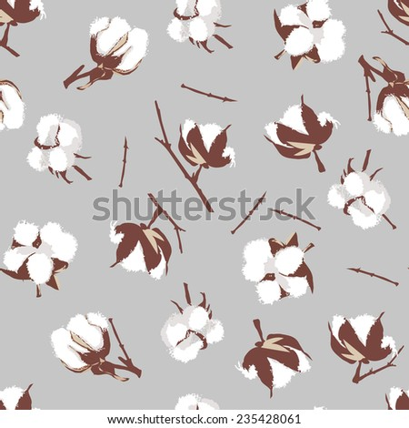 Cotton bolls gray seamless vector pattern, EPS10 file  - stock vector