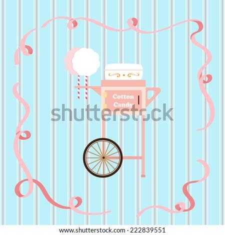 Cotton candy cart vector. - stock vector