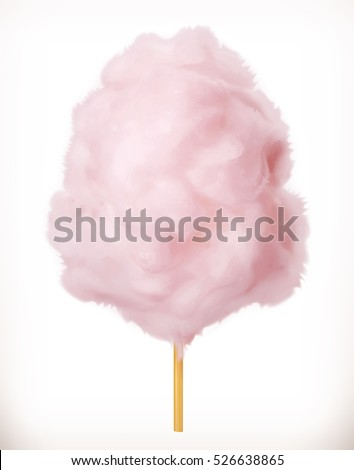 Cotton candy. Sugar clouds. 3d vector icon. Realistic illustration