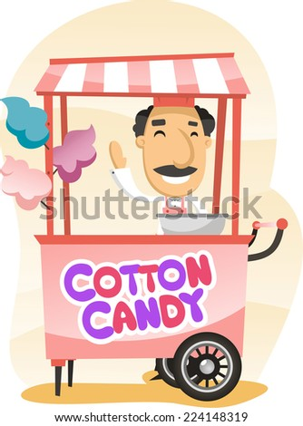 Cotton candy trolley street shop cartoon vector illustration - stock vector