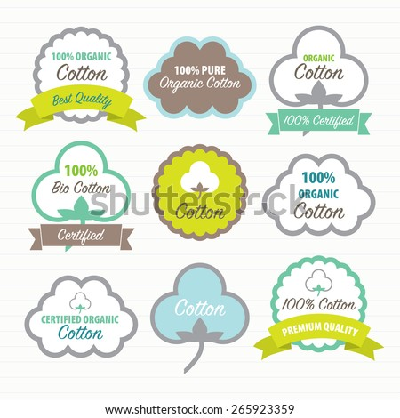 Cotton Certificates. Labels set - stock vector