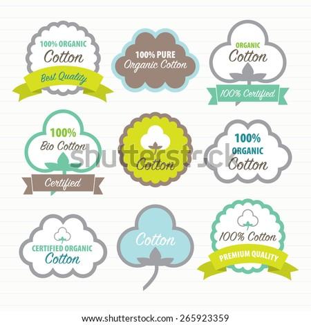 Cotton Certificates. Labels set - stock vector