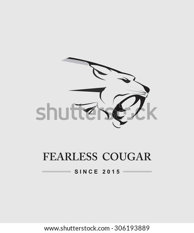 Cougar Head. Cougar Head combine with text. Cougar. Fearless Cougar. label. Cougar Mascot Head Vector Graphic.  Roaring Predator. tiger head, roaring fang face - stock vector