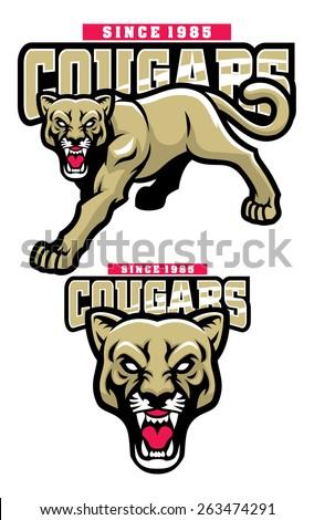 cougar mascot - stock vector