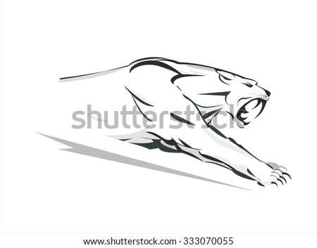 Cougar, Running cougar.  attacking Cougar. Fearless Cougar. Cougar Vector Graphic. Roaring Predator. tiger. roaring fang face - stock vector
