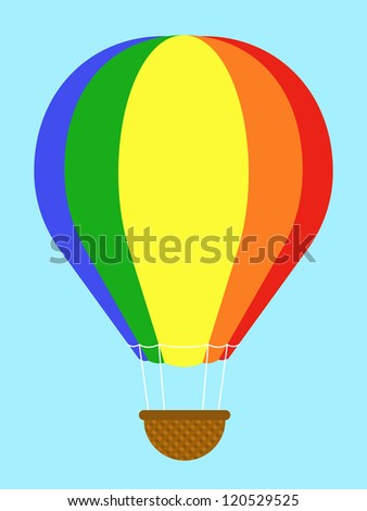 Coulourful hot-air balloon with striped panels in the colours of the rainbow floating high in a clear blue sky with an empty wicker basket gondola dangling below, isolated vector illustration - stock vector