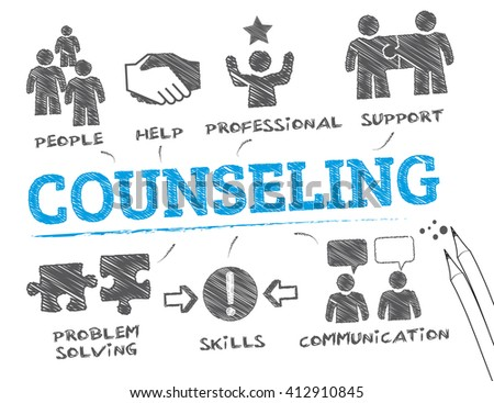 counseling. Chart with keywords and icons - stock vector