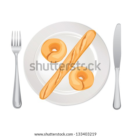 Count Calories Concept. Percent sign. Bread on plate isolated on white background. Vector illustration. - stock vector
