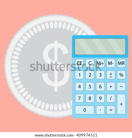 Count money calculator. Finance calculate and saving budget, economy finance. Vector flat design illustration - stock vector