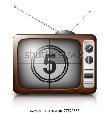 Countdown on the Retro TV screen. Vector - stock vector