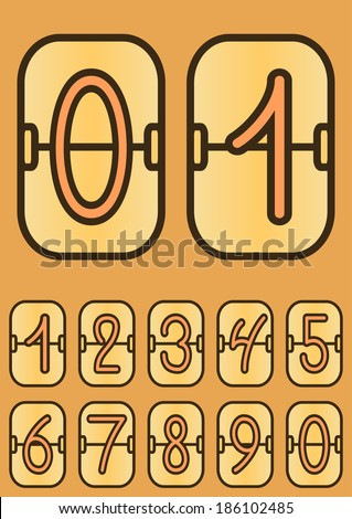 Countdown timer, cartoon scoreboard with hand drawing digits, hand drawing numbers, vector illustration - stock vector