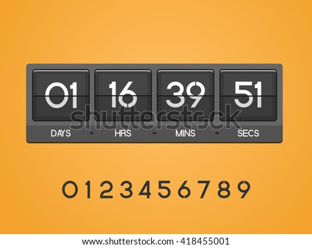 Countdown Timer for the website. Square section. Days, hours, minutes, seconds. orange background. Vector drawing