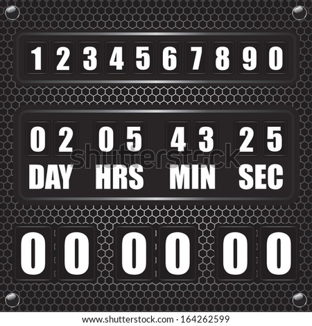 Countdown timer on octagon metal background - stock vector