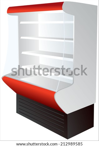 Counter on four shelves with a cooling system. - stock vector