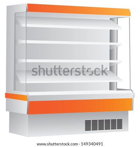 Counter on four shelves with a cooling system. Vector illustration. - stock vector