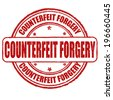 Counterfeit forgery grunge rubber stamp on white, vector illustration - stock photo