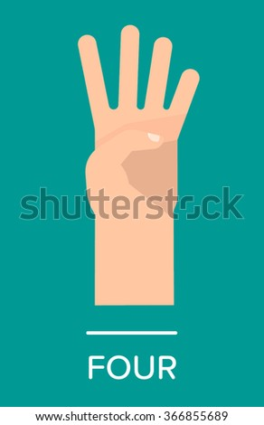 Counting fingers - number four. Hand showing four fingers. Communication gestures concept. Vector illustration isolated on colorful background with text flat design. - stock vector