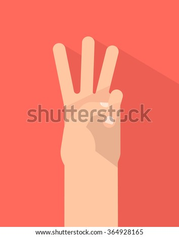 Counting fingers - number three. Hand showing three fingers. Communication gestures concept. Vector illustration isolated on colorful background with shadow flat design. - stock vector