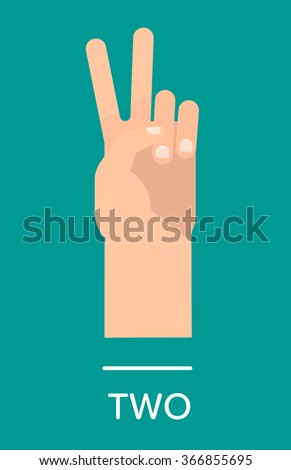 Counting fingers - number two. Hand showing two fingers, peace sign. Communication gestures concept. Vector illustration isolated on colorful background with text flat design. - stock vector