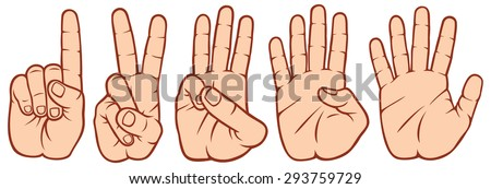 counting fingers set (hands signals, hands and numbers, set of counting hand sign 1-2-3-4-5) - stock vector