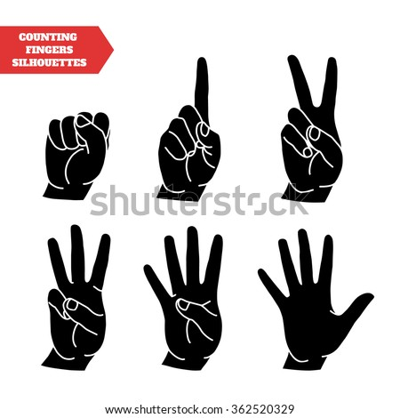 Counting hands showing different number of fingers. Graphic design element for teaching math to young children as school printout. Great for showing numbers on your design in a fun and creative way. - stock vector