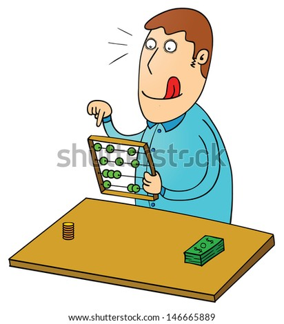 counting profit with abacus - stock vector