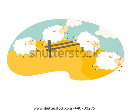 Counting sheep. Cartoon happy sheep for baby. Cartoon character sheep on meadow. Sweet dreams. Jumping sheep, insomnia. Vector illustration on white background. Flat sticker - stock vector