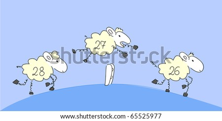 Counting sheep 2 - vector. - stock vector