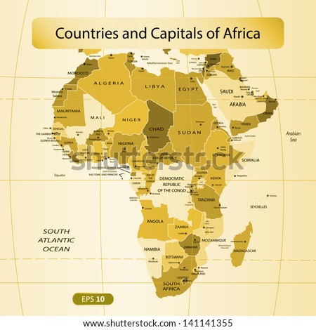 Countries and Capitals of the Africa. Vector illustration - stock vector